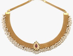 Ethnic choker with ruby emeralds and pearls