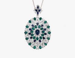 Emerald and Blue Sapphire Pendant
