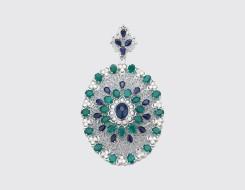 Emerald and Blue Sapphire Pendant
