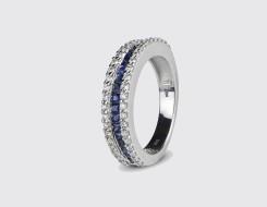 Semi Eternity Blue Sapphire Ring