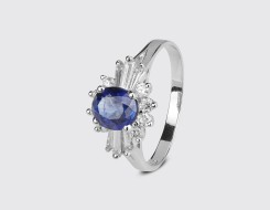 Floral Blue Sapphire Ring
